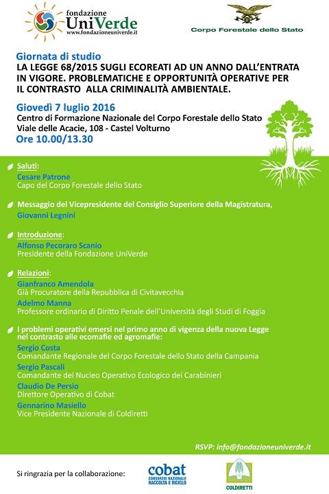 Programma Giornata di studio Castel Volturno, 7 luglio 2016 Alfonso Pecoraro Scanio