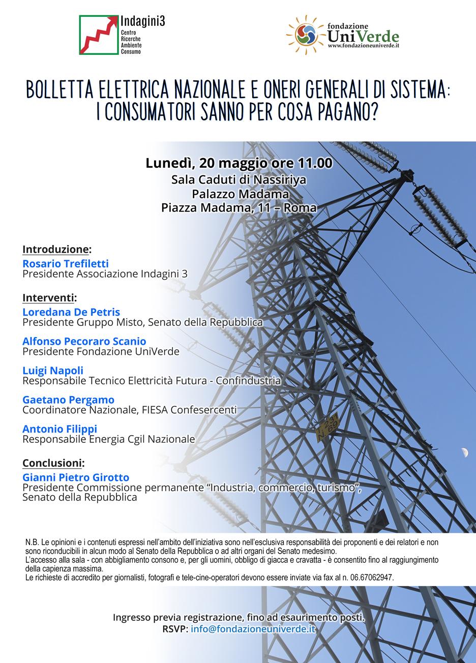 Roma, 20 maggio 2019 - Convegno bolletta elettrica-invito